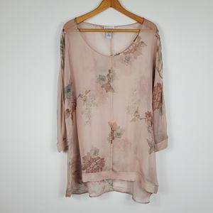 Soft Surroundings Silk Floral Print Sheer Tunic